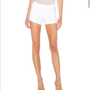 NEW • Mother • Rascal Slit Flip Denim Shorts White